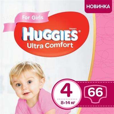 Подгузники детские Huggies Ultra Comfort для девочек размер 4, 8-14 кг, 66 штук