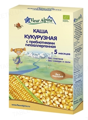 Сухая безмолочная каша Fleur Alpine Кукурузная с пребиотиками гипоаллергенная, 175 г