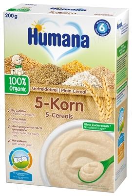 Сухая безмолочная каша Humana цельнозерновая 5 Злаков органическая для детей с 6 месяцев, 200 г