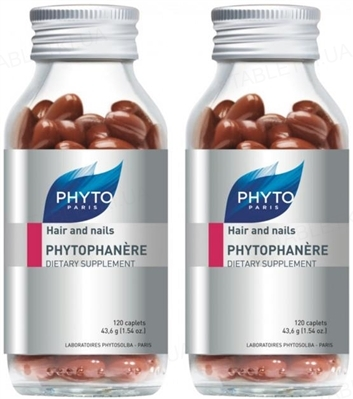 Диетическая добавка Phyto Phytophanеre Hair/Nails для ногтей и волос, 2 флакона по 120 капсул