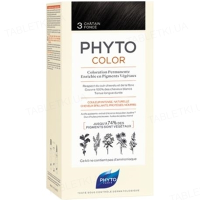 Крем-краска Phyto Phytocolor, тон 3 темный шатен, 60 мл + 40 мл