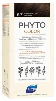 Крем-краска Phyto Phytocolor, тон 5.7 светлый шатен каштановый, 60 мл + 40 мл