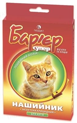 Ошейник Барьер от блох и клещей для котов, красный, 35 см