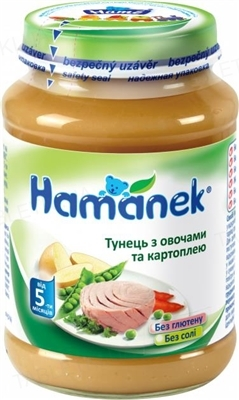 Овощное пюре Hame Hamanek Тунец с овощами и картофелем, 190 г