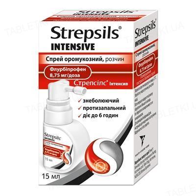 Стрепсилс интенсив спрей оромукоз., р-р 8.75 мг/доза по 15 мл во флак.