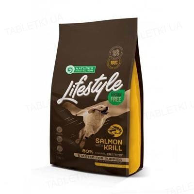 Корм сухой Nature's Protection Lifestyle Grain Free Salmon with krill Starter For Puppies для щенков беззерновой с лососем, 1,5 кг