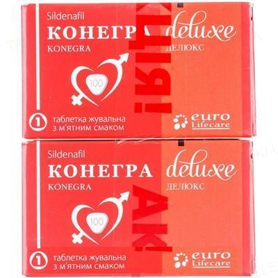 Конегра делюкс таблетки жув. набір, 100 мг №1 + 100 мг №1, акція
