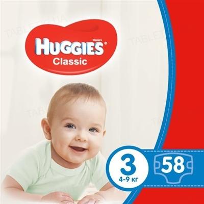 Подгузники детские Huggies Classic размер 3, 4-9 кг, 58 штук
