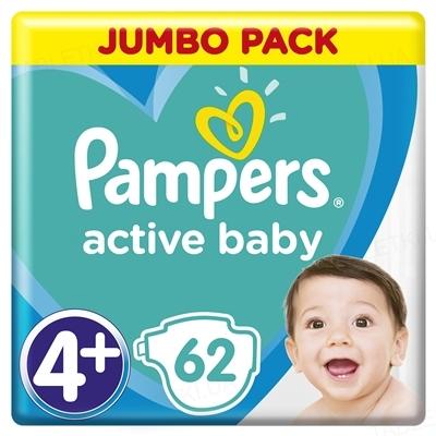 Підгузки дитячі Pampers Active Baby розмір 4+, 10-15 кг, 62 штуки