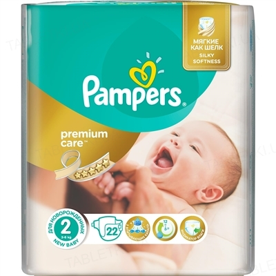 Подгузники детские Pampers Premium Care Mini размер 2 , 3 - 6 кг, 22 штуки