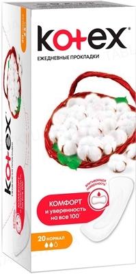 Ежедневные гигиенические прокладки Kotex, нормал, 20 штук