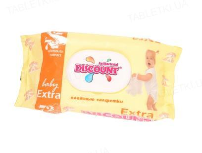 Салфетки влажные Discount Extra с экстрактом календулы и витамином Е, с клапаном 72 штуки