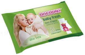 Салфетки влажные для детей Discount для детей с экстрактом алоэ, 20 штук