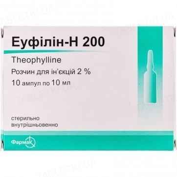 Эуфиллин-Н 200 раствор д/ин. 2 % по 10 мл №10 в амп.