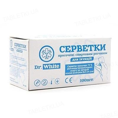 Салфетки спиртовые Dr. White медицинские 30 мм х 60 мм, 100 штук