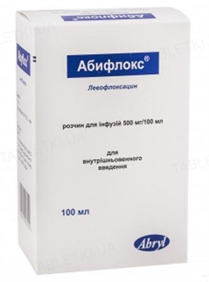 Абифлокс раствор д/инф. 500 мг/100 мл по 100 мл во флак.