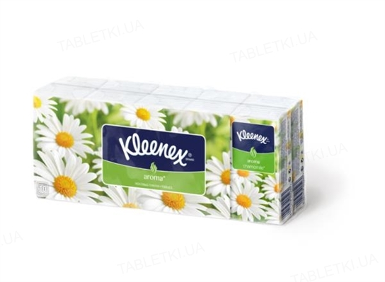 Платочки бумажные Kleenex с ароматом ромашки №10х10