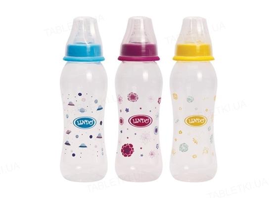 Бутылочка для кормления Lindo LI 145 изогнутая с силиконовой соской, 250 мл