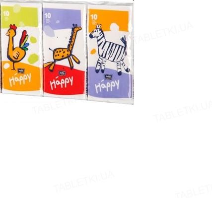 Платки бумажные носовые гигиенические Bella Baby Happy трехслойные, 10 штук