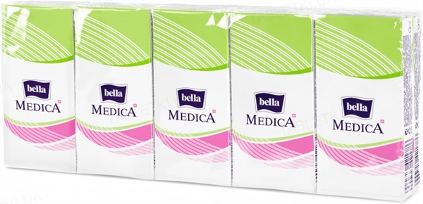 Хустинки паперові носові гігієнічні Bella Medica тришарові, 9 x10 штук