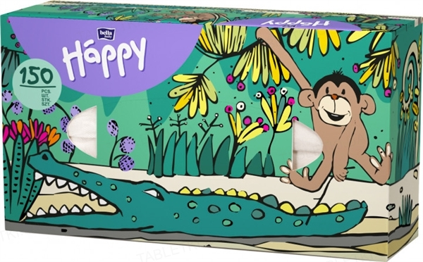 Платки бумажные универсальные Bella Baby Happy двухслойные, 150 штук