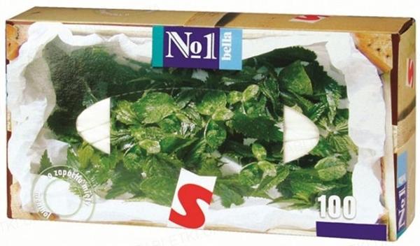 Платки бумажные универсальные Bella №1 двухслойные с ароматом мяты, 100 штук