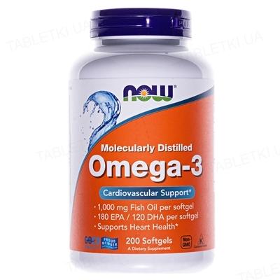 Омега-3 NOW 1000 мг капсули м'які №200
