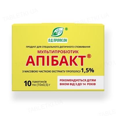 Апибакт мультипробиотик с 1,5% экстракта прополиса от 3-х до 14-ти лет по 10 г №10 в пак.