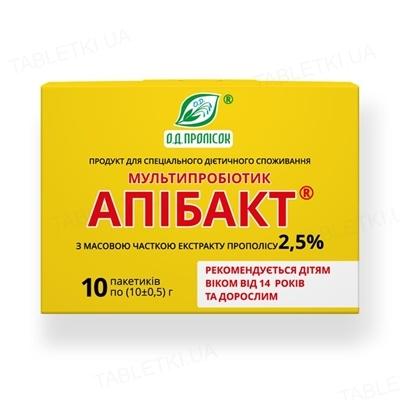 Апибакт мультипробиотик с 2,5% экстракта прополиса от 14-ти лет и взрослым по 10 г №10 в пак.