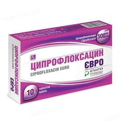 Ципрофлоксацин евро таблетки, п/плен. обол. по 500 мг №10 (10х1)