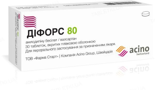 Дифорс 80 таблетки, п/плен. обол. по 5 мг/80 мг №30 (10х3)