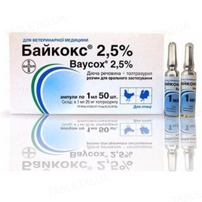 Байкокс 2,5% (ДЛЯ ЖИВОТНЫХ) суспензия для перорального применения по 1 мл, 50 ампул