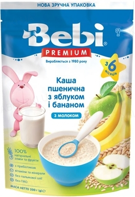 Суха молочна каша Bebi Premium Пшенична з яблуком і бананом, 250 г