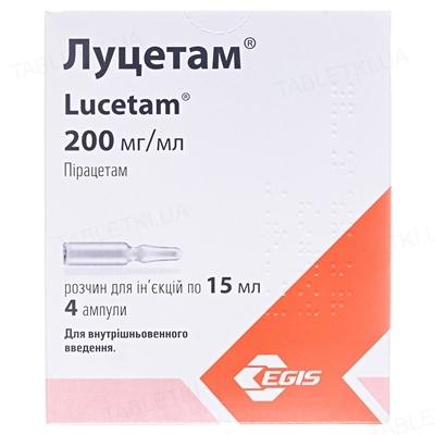 Луцетам раствор д/ин. 200 мг/мл (3 г) по 15 мл №4 в амп.