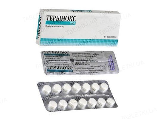 Тербинокс таблетки по 250 мг №14
