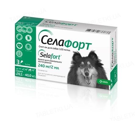 Селафорт капли от блох клещей и гельминтов для собак весом 20-40 кг, 1 пипетка