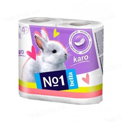 Туалетная бумага Bella №1 Karo белая, в рулонах, 4 штуки