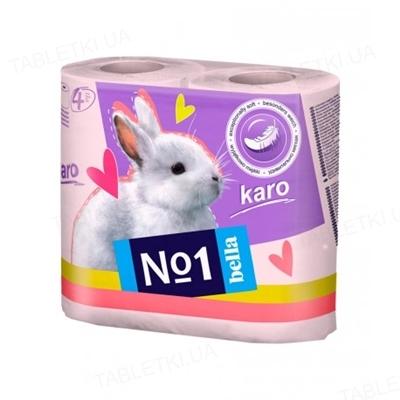 Туалетная бумага Bella №1 Karo цветная, в рулонах, 4 штуки