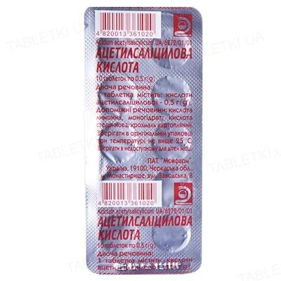 Ацетилсаліцилова кислота таблетки по 0.5 г №10