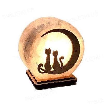 Лампа соляная SaltLamp Шар Коты на Луне, 3-4 кг