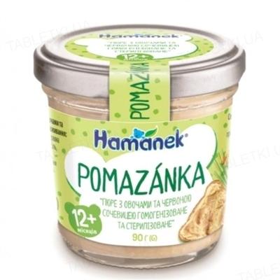 Пюре овощное Hame Hamanek Намазка Овощи с чечевицей, 90 г