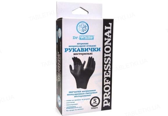 Перчатки смотровые Dr.White Professional нитриловые неприпудренные размер S, нестерильные, черные, 10 штук