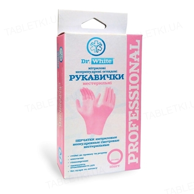 Перчатки смотровые Dr.White Professional нитриловые неприпудренные размер М, нестерильные, розовые, 10 штук