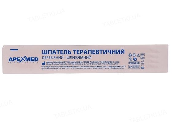 Шпатель терапевтический Apexmed деревянный, шлифованный, стерильный, 1 штука