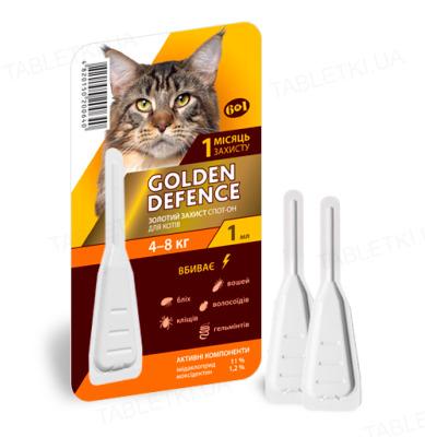 Капли на холку Palladium Golden Defence от паразитов для кошек весом от 4 до 8 кг, 1 пипетка