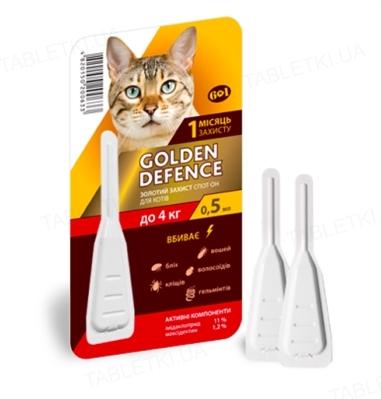Капли на холку Palladium Golden Defence от паразитов для кошек весом до 4 кг, 1 пипетка