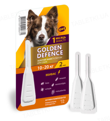 Капли на холку Palladium Golden Defence от паразитов для собак весом от 10 до 20 кг, 1 пипетка