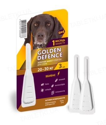 Капли на холку Palladium Golden Defence от паразитов для собак весом от 20 до 30 кг, 1 пипетка