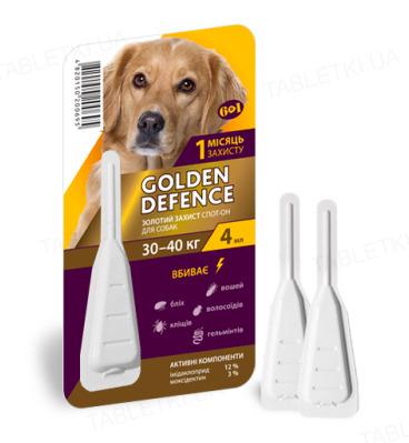Капли на холку Palladium Golden Defence от паразитов для собак весом от 30 до 40 кг, 1 пипетка