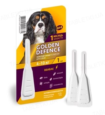 Капли на холку Palladium Golden Defence от паразитов для собак весом от 4 до 10 кг, 1 пипетка